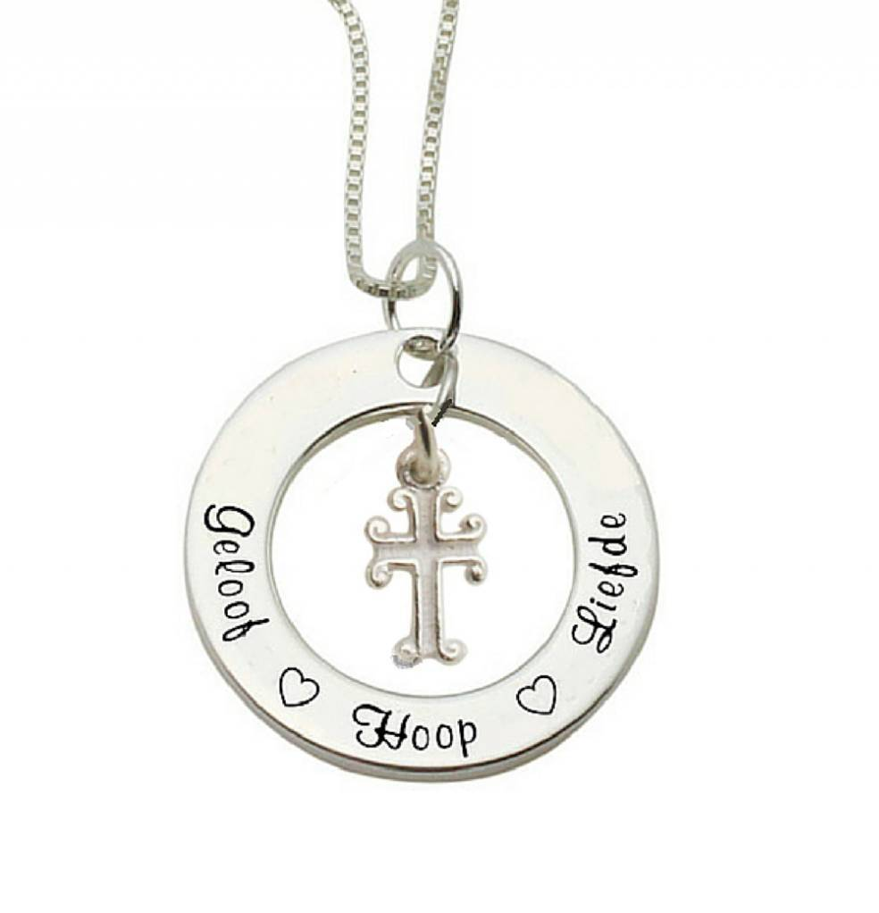 Communion silver necklace 'Faith Hope ♡ ♡ love' with heart