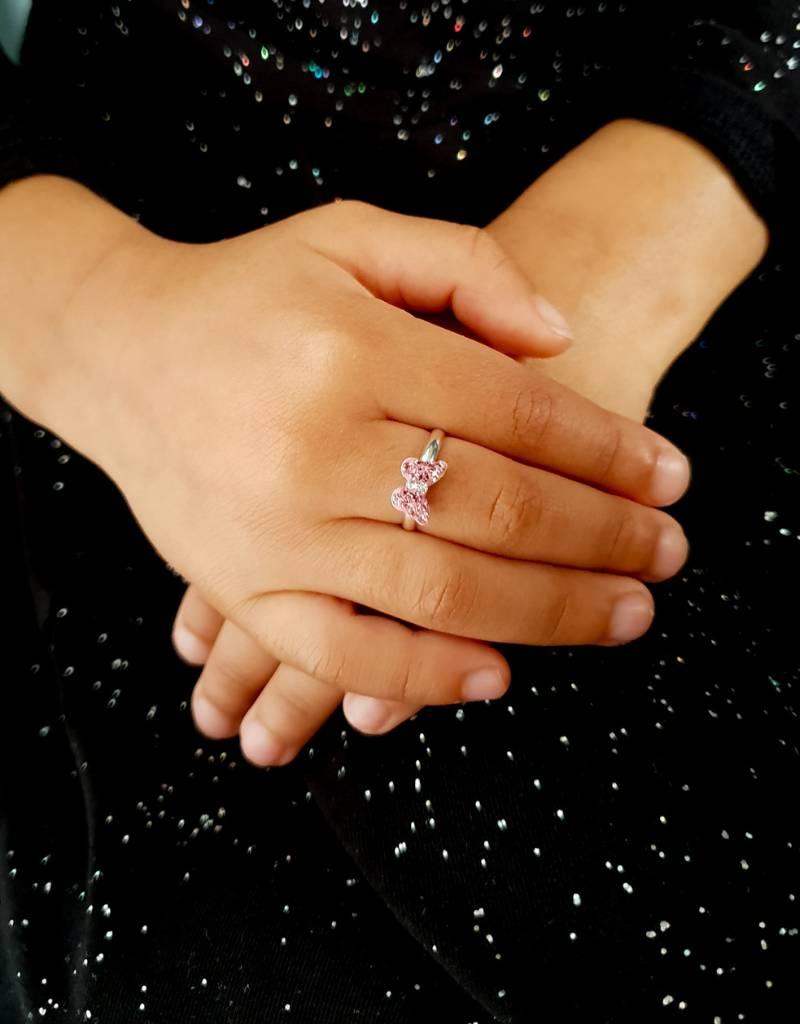 KAYA Zilveren set 'Pink Butterfly' met ketting, ring en oorbellen