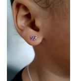 Silver earrings kids 'cute pink butterflies'