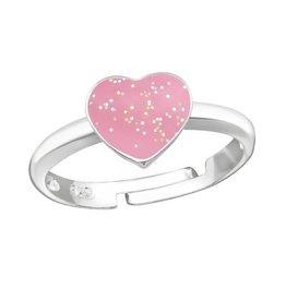 KAYA sieraden Kinderring 'Glitter Heart'