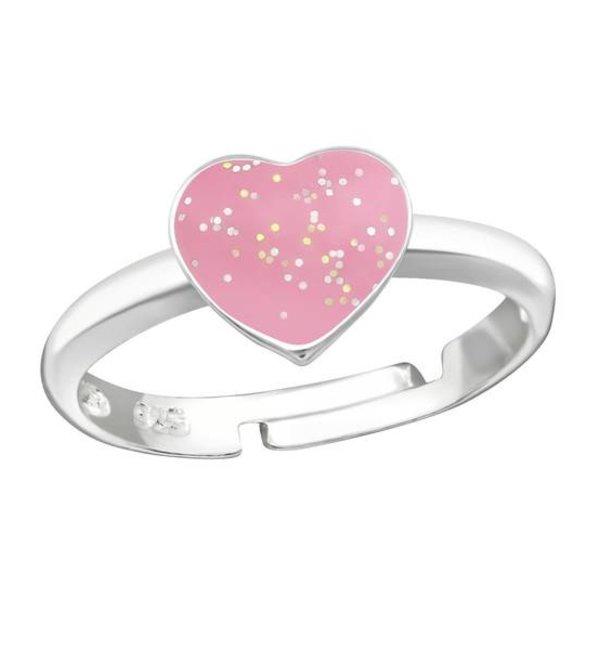 KAYA sieraden Zilveren kinderring 'Glitter Hartje'