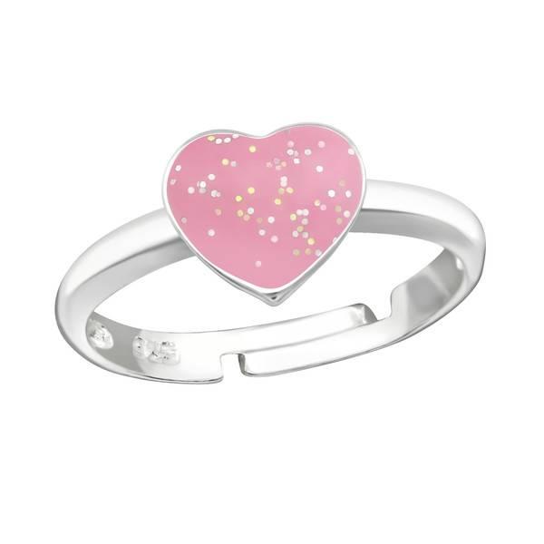 Zilveren kinderring 'Glitter Heart'