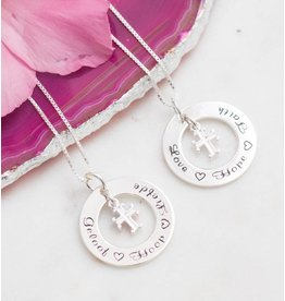 KAYA sieraden Communion silver necklace 'Faith Hope ♡ ♡ love' with heart