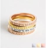 Gepersonaliseerde sieraden Gepersonaliseerde ring 'Coördinaten'