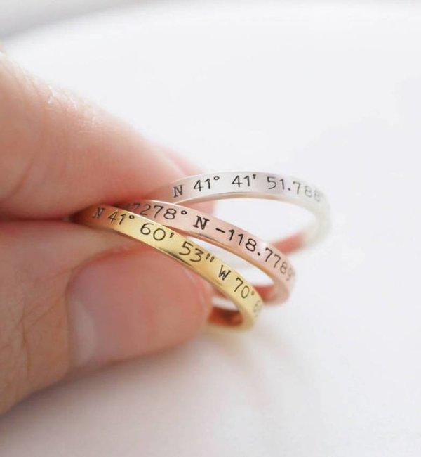 KAYA sieraden Gepersonaliseerde Ring 'Coördinaten'