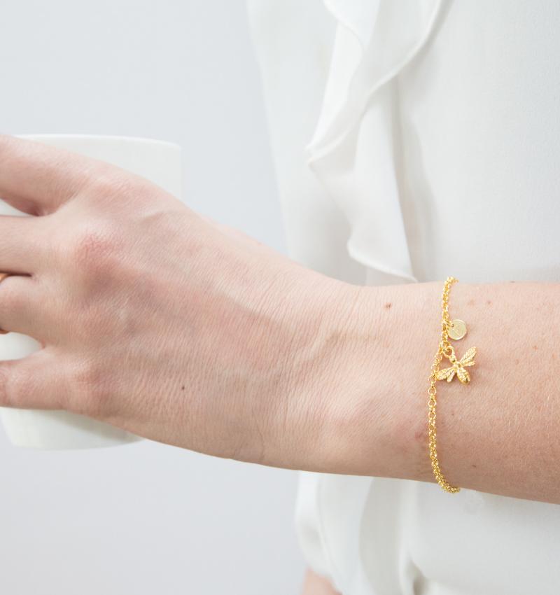 Zilveren jasseron armband 'Nature' met letterbedel