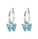 Kinderoorbellen 'Vlindertje blauw kristal'