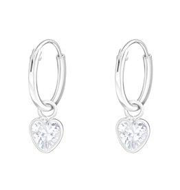 KAYA sieraden Silver Creoles 'white crystal hearts'