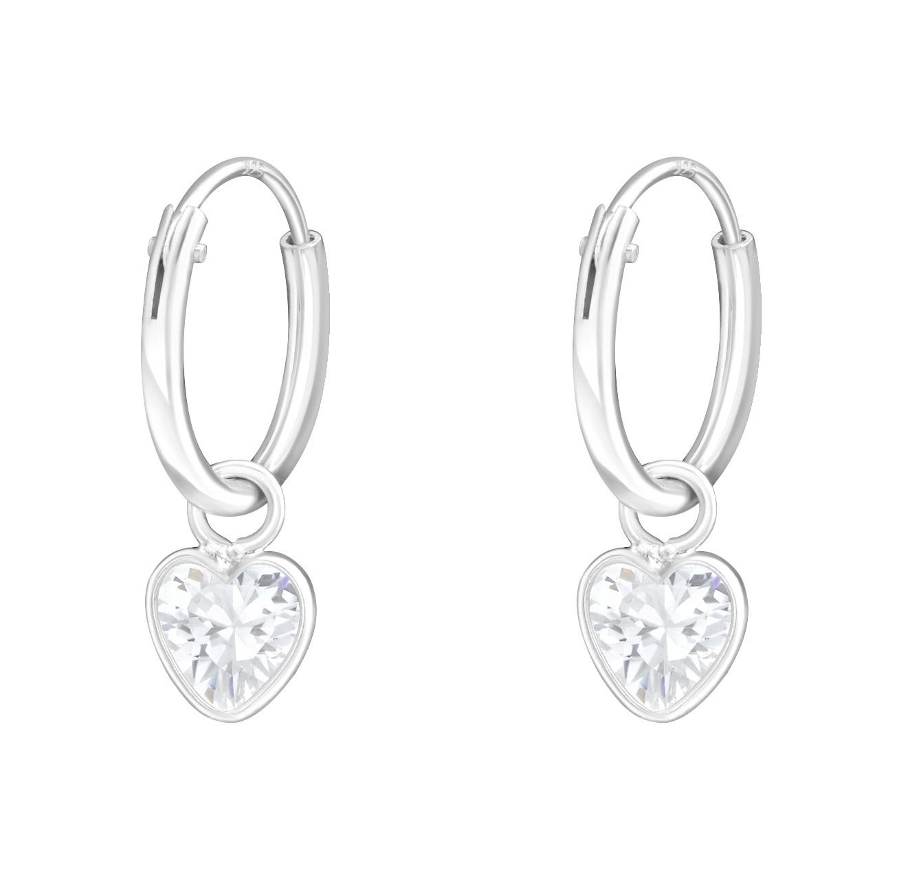 KAYA Silver Creoles 'white crystal hearts'