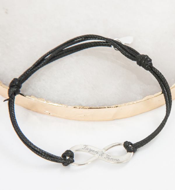 Sieraden graveren Adjustable leather bracelet 'infinity'