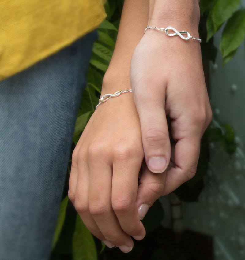 KAYA Zilveren armbandenset 'Infinity Crystal'