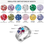 Gepersonaliseerde sieraden Silver ring 'Family' with engraving and birthstone