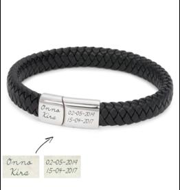 KAYA sieraden Eigen handschrift Rundleer Armband -Zwart