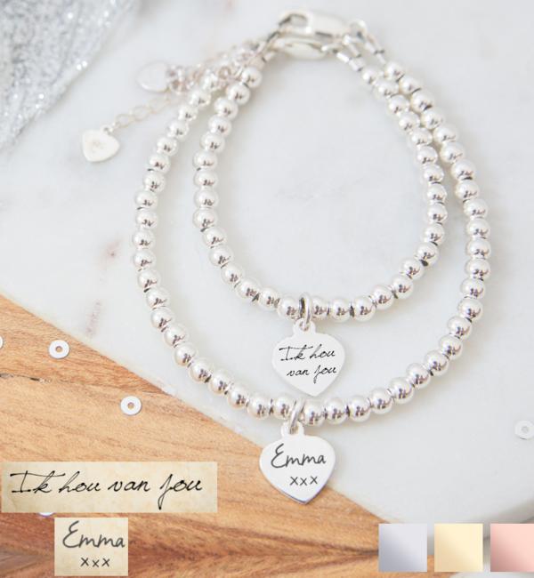 Sieraden graveren Bracelet with own handwriting - Copy - Copy - Copy - Copy - Copy - Copy