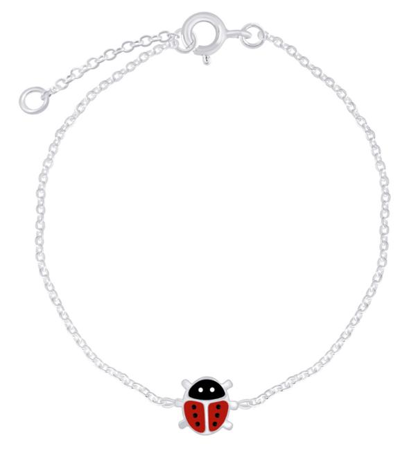 KAYA sieraden Zilveren Kinderarmband 'Lieveheersbeestje'
