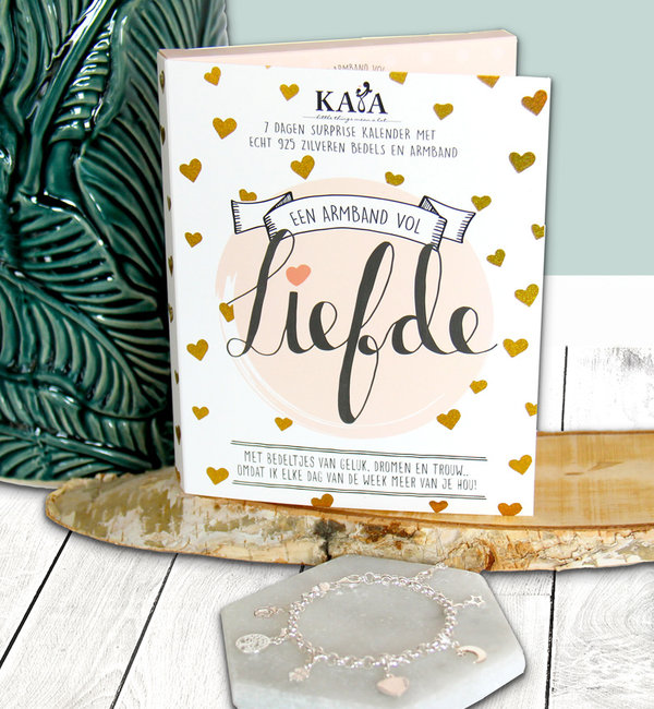 """KAYA sieraden Surprise Kalender """"Liefde"""" met zilveren bedelarmband"""
