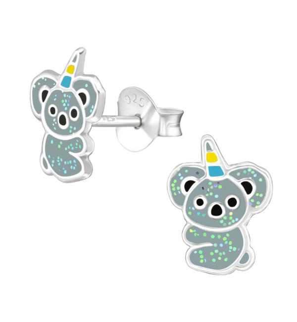 KAYA sieraden Zilveren kinderoorbellen 'Koala' met glitters