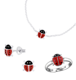 KAYA sieraden Zilveren Set 'Lieveheersbeestje' met oorbellen, ring en armband