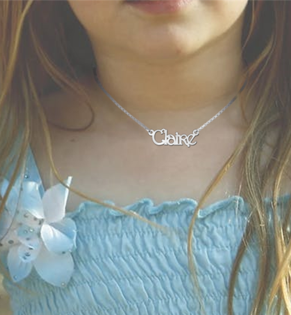 Sieraden Silver name necklace for little ladies (35 cm), model Claire