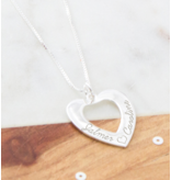 Sieraden graveren Silver Necklace 'Forever by my Side' with Pearl