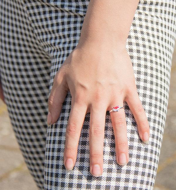 KAYA sieraden Zilveren Kinderring 'Rood Vosje'