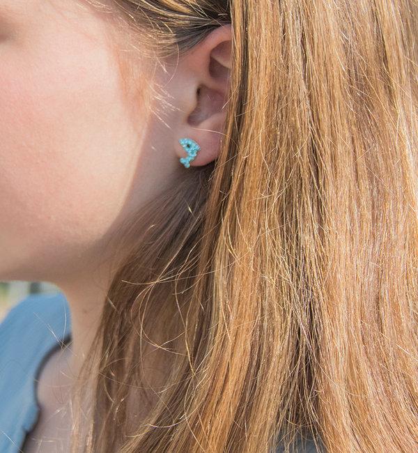 KAYA sieraden Zilveren Kinderoorbellen 'Dolfijntjes' - Blauw