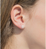 KAYA sieraden Silver children's earrings 'White flowers with pink'