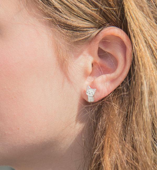KAYA sieraden Silver Kids Earrings 'Kittens'