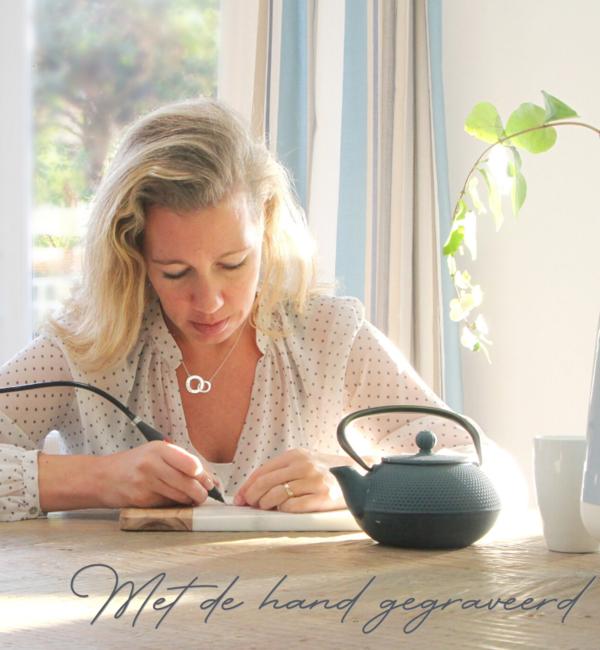Sieraden graveren Silver Necklace 'Handwriting' heart 12 x 12 mm - Copy