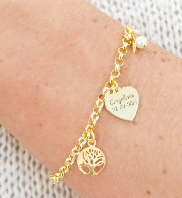 Sieraden graveren Gepersonaliseerde Zilveren Armband 'Tree of Life' met Gravure