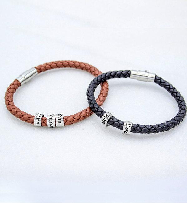 KAYA sieraden Leather bracelet with Personalised stainless steel rings