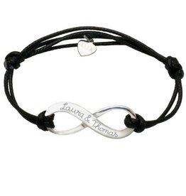 Sieraden graveren Adjustable leather bracelet 'infinity'