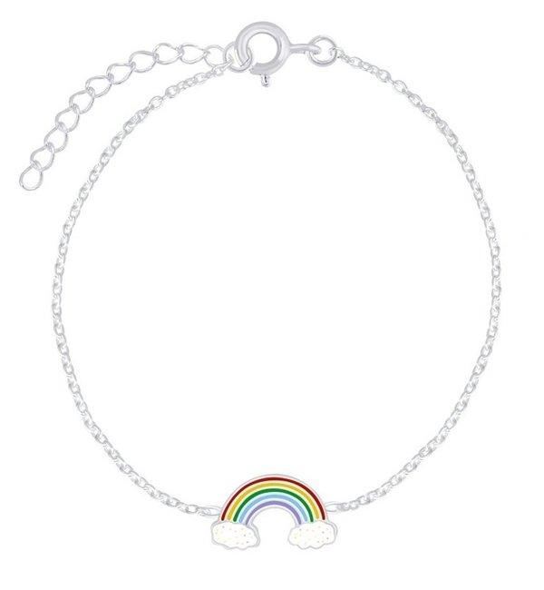 KAYA sieraden Zilveren Kinderarmband 'Regenboog' met Glitters
