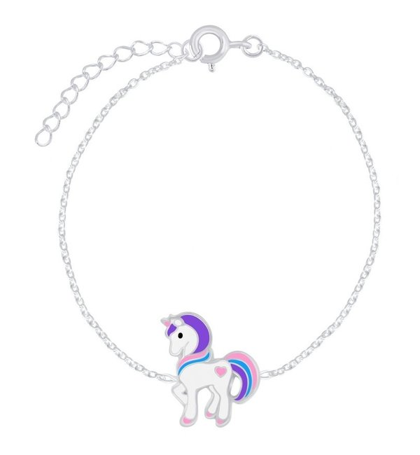 KAYA sieraden Zilveren Kinderarmband 'Blauwe Unicorn'