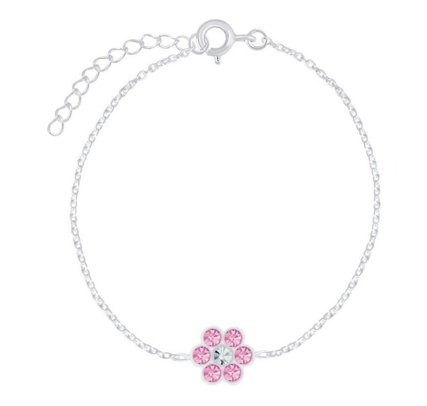 KAYA sieraden Zilveren Kinderarmband 'Bloemetje' met Roze Kristallen