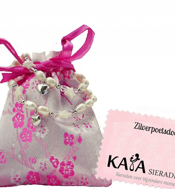 KAYA sieraden Dubbele Moeder Dochter armbandjes 'Infinity Pink'