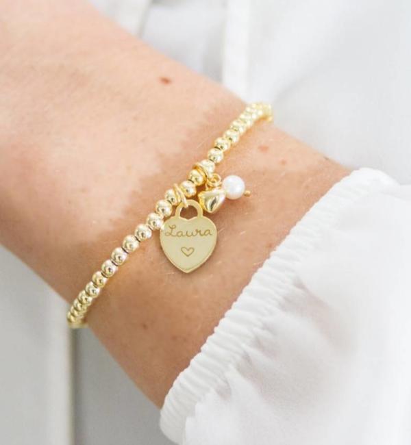 Sieraden graveren Silver bracelets set 'Cute Balls' for mother and daughter - Copy - Copy