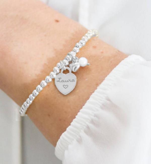 Sieraden graveren Bracelet 'Cute Balls' Engrave Heart & Pearl & Heart