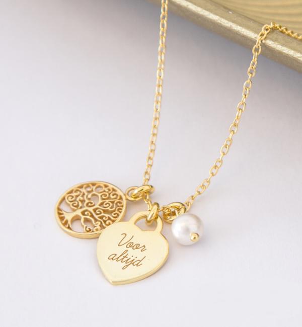 Sieraden graveren Silver Necklace '' Tree of Life '& Birth Crystal - Copy