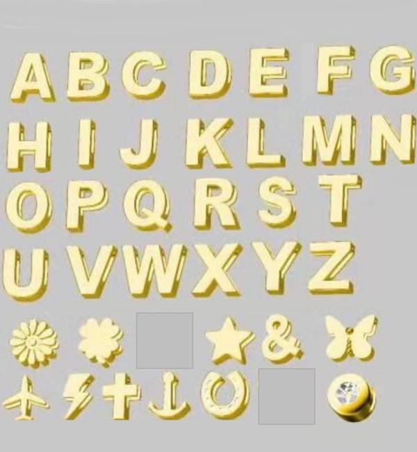 Sieraden graveren Letterketting 'Big Initial' 2 letter - Kies de kleur