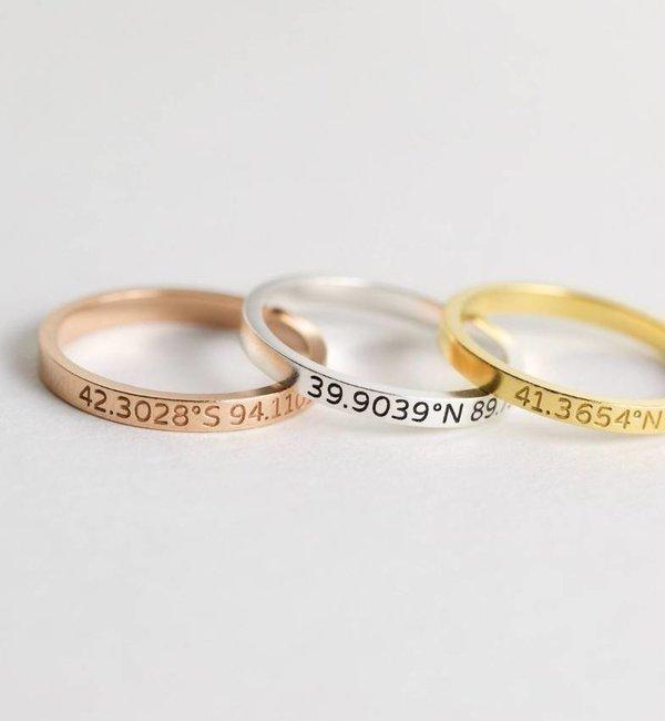 KAYA sieraden Gepersonaliseerde Ring met Coördinaten Gravure