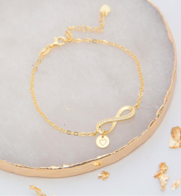 KAYA sieraden Zilveren Armband met Letter 'Infinity Crystal' -