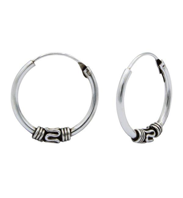 KAYA sieraden Zilveren Creolen Bali Hoops | 14 mm