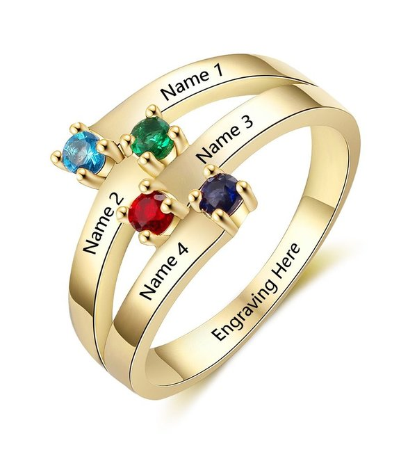 Gepersonaliseerde sieraden Call with four birthstones