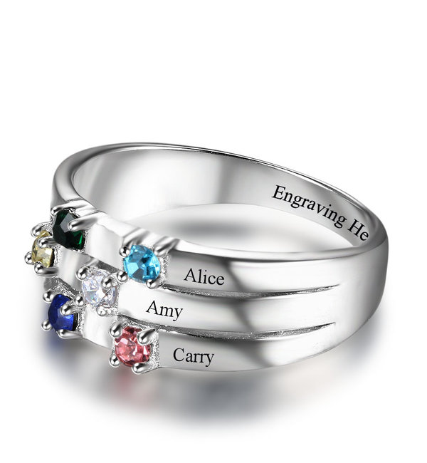 Gepersonaliseerde sieraden Call with 5 birth stones 'family' - Copy