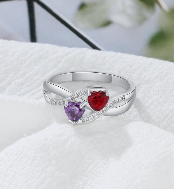 Gepersonaliseerde sieraden Silver ring with two birth stones 'close to my heart' - Copy - Copy - Copy - Copy
