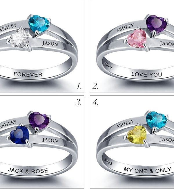 Gepersonaliseerde sieraden Silver ring with 2 birth stones 'double hearts'