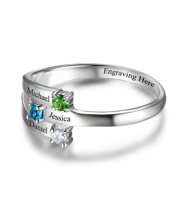 Gepersonaliseerde sieraden Personalized ring 'three kids'