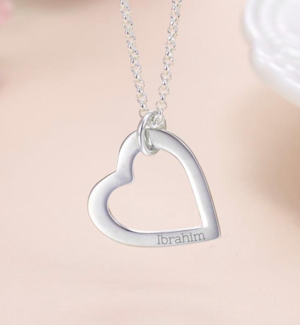 Sieraden graveren Zilveren Ketting 'Hearts' met Naam
