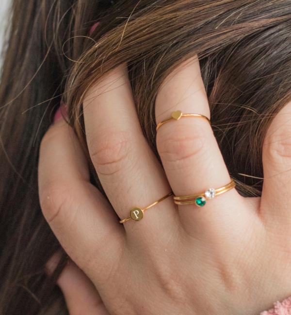Sieraden graveren Ring 'Mini Disc' met Letter